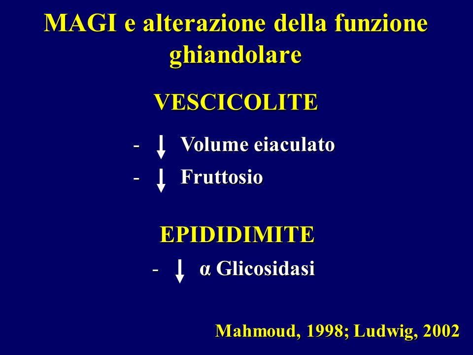 Mahmoud, 1998; Ludwig, 2002 - Volume eiaculato - Fruttosio VESCICOLITE - α Glicosidasi EPIDIDIMITE MAGI e alterazione della funzione ghiandolare