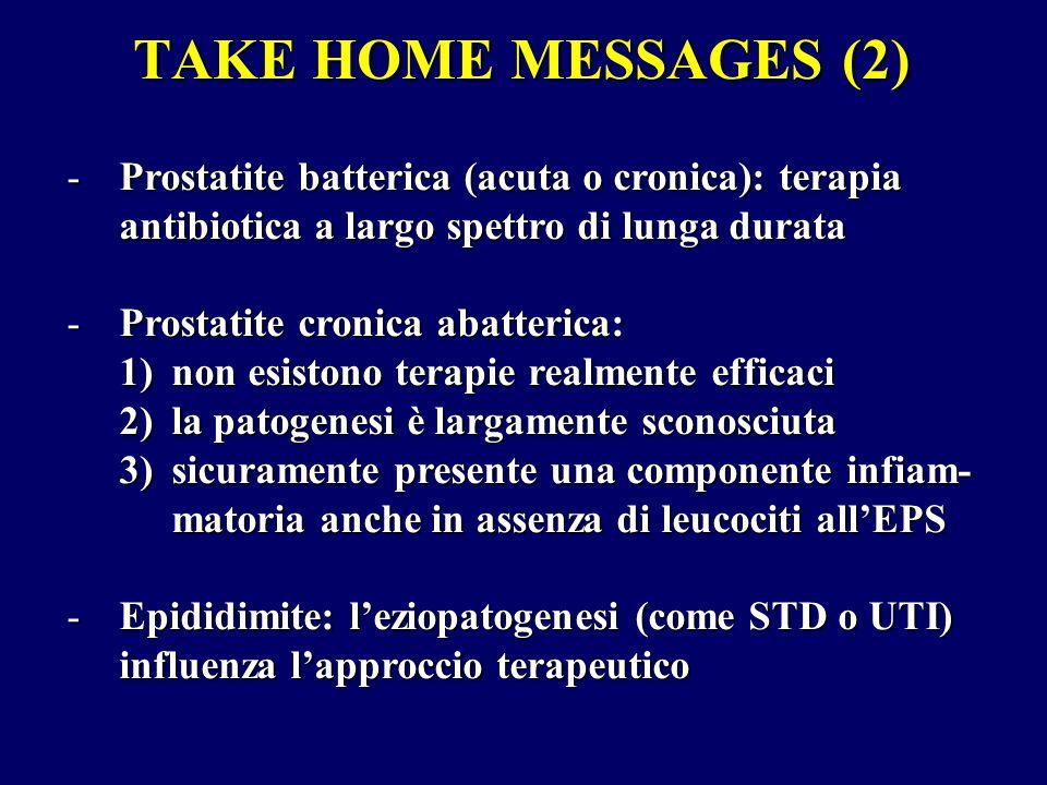 TAKE HOME MESSAGES (2) -Prostatite batterica (acuta o cronica): terapia antibiotica a largo spettro di lunga durata -Prostatite cronica abatterica: 1)