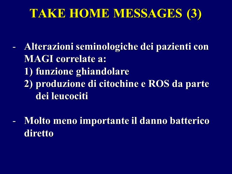 TAKE HOME MESSAGES (3) -Alterazioni seminologiche dei pazienti con MAGI correlate a: 1)funzione ghiandolare 2)produzione di citochine e ROS da parte d