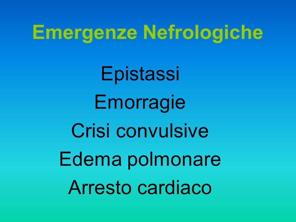 Epistassi Emorragie Crisi convulsive Edema polmonare Arresto cardiaco Emergenze Nefrologiche