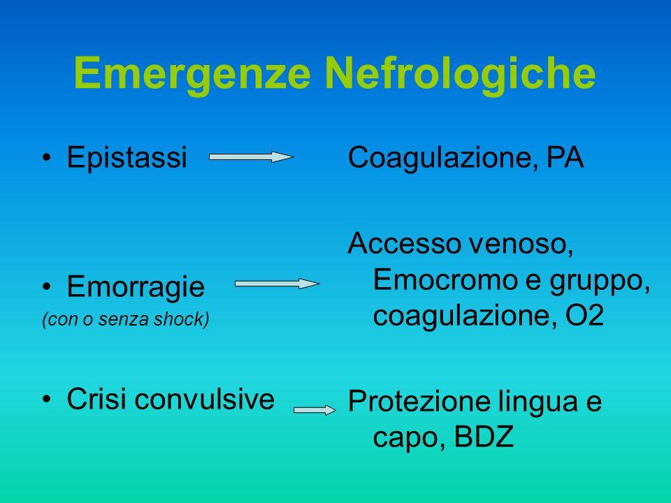 Epistassi Emorragie (con o senza shock) Crisi convulsive Emergenze Nefrologiche Coagulazione, PA Accesso venoso, Emocromo e gruppo, coagulazione, O2 P