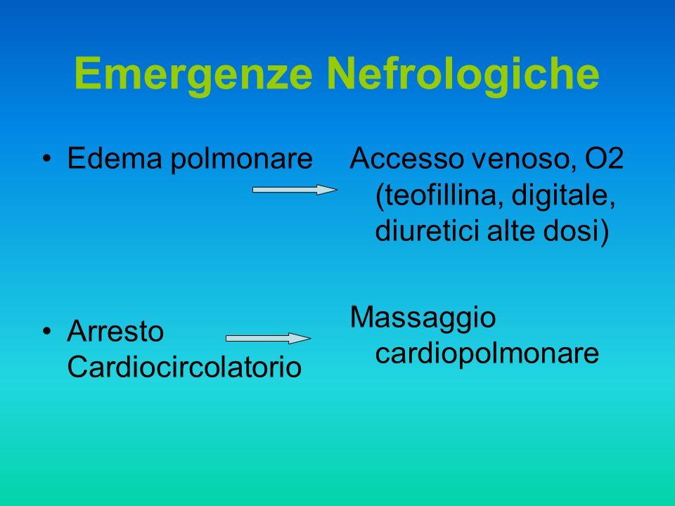 Edema polmonare Arresto Cardiocircolatorio Emergenze Nefrologiche Accesso venoso, O2 (teofillina, digitale, diuretici alte dosi) Massaggio cardiopolmo