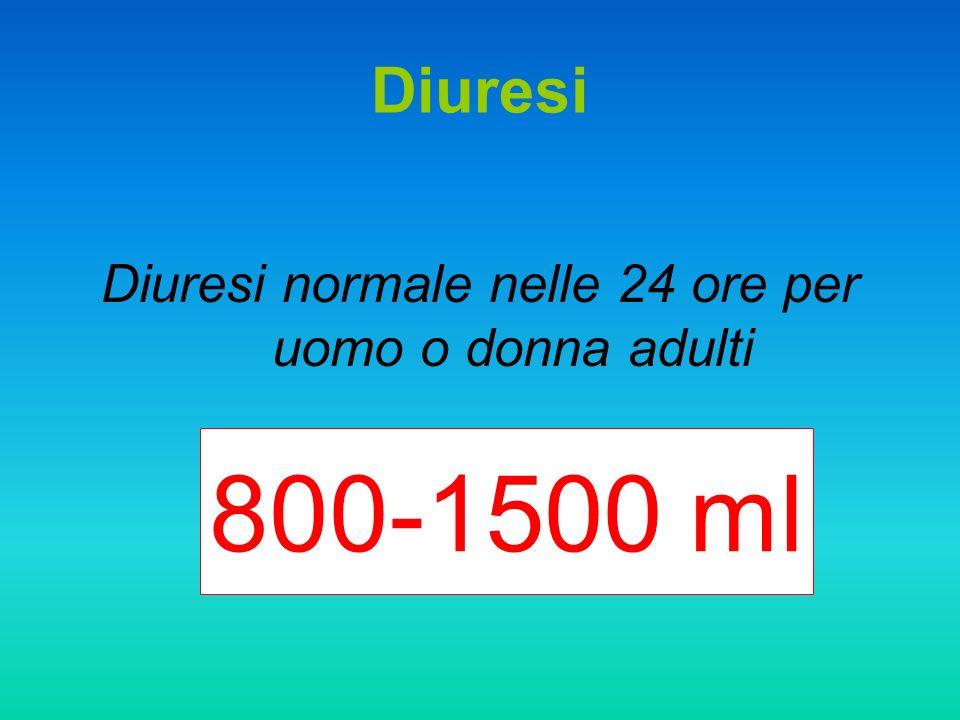 Diuresi Diuresi normale nelle 24 ore per uomo o donna adulti 800-1500 ml
