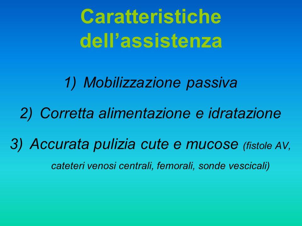 Caratteristiche dellassistenza 1)Mobilizzazione passiva 2)Corretta alimentazione e idratazione 3)Accurata pulizia cute e mucose (fistole AV, cateteri