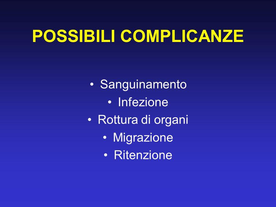 POSSIBILI COMPLICANZE Sanguinamento Infezione Rottura di organi Migrazione Ritenzione