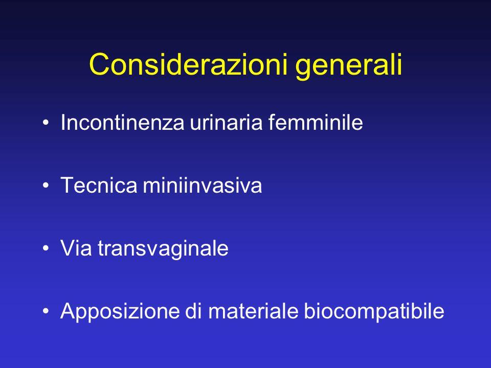 Considerazioni generali Incontinenza urinaria femminile Tecnica miniinvasiva Via transvaginale Apposizione di materiale biocompatibile