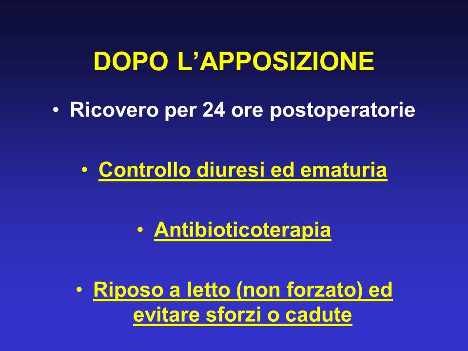 DOPO LAPPOSIZIONE Ricovero per 24 ore postoperatorie Controllo diuresi ed ematuria Antibioticoterapia Riposo a letto (non forzato) ed evitare sforzi o