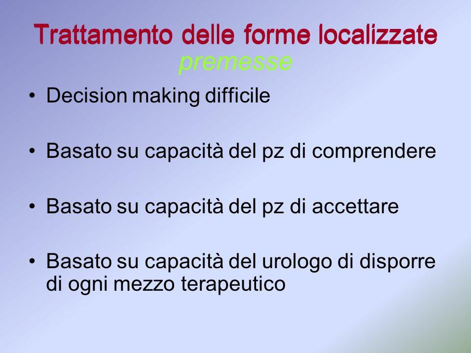 Trattamento delle forme localizzate Decision making difficile Basato su capacità del pz di comprendere Basato su capacità del pz di accettare Basato s