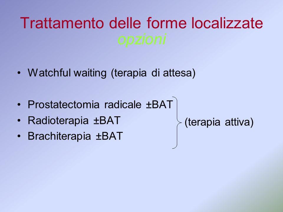 Trattamento delle forme localizzate Watchful waiting (terapia di attesa) Prostatectomia radicale ±BAT Radioterapia ±BAT Brachiterapia ±BAT opzioni (te