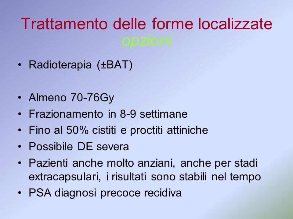Trattamento delle forme localizzate Radioterapia (±BAT) Almeno 70-76Gy Frazionamento in 8-9 settimane Fino al 50% cistiti e proctiti attiniche Possibi