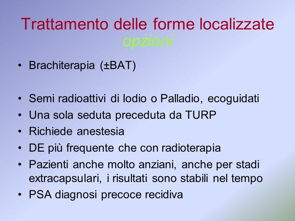 Trattamento delle forme localizzate Brachiterapia (±BAT) Semi radioattivi di Iodio o Palladio, ecoguidati Una sola seduta preceduta da TURP Richiede a