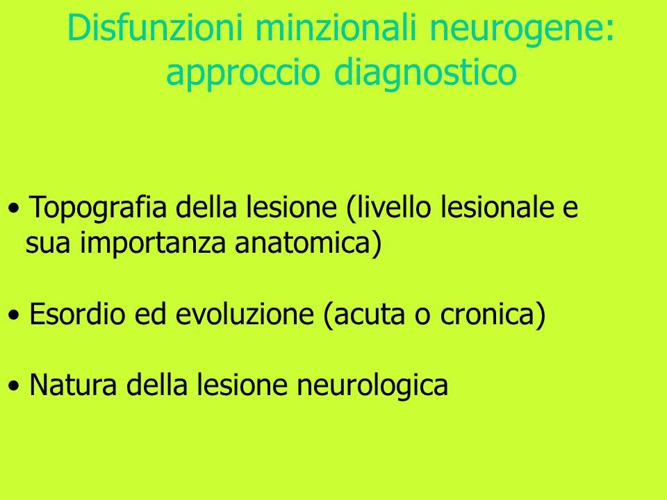 Topografia della lesione (livello lesionale e sua importanza anatomica) Esordio ed evoluzione (acuta o cronica) Natura della lesione neurologica Disfu