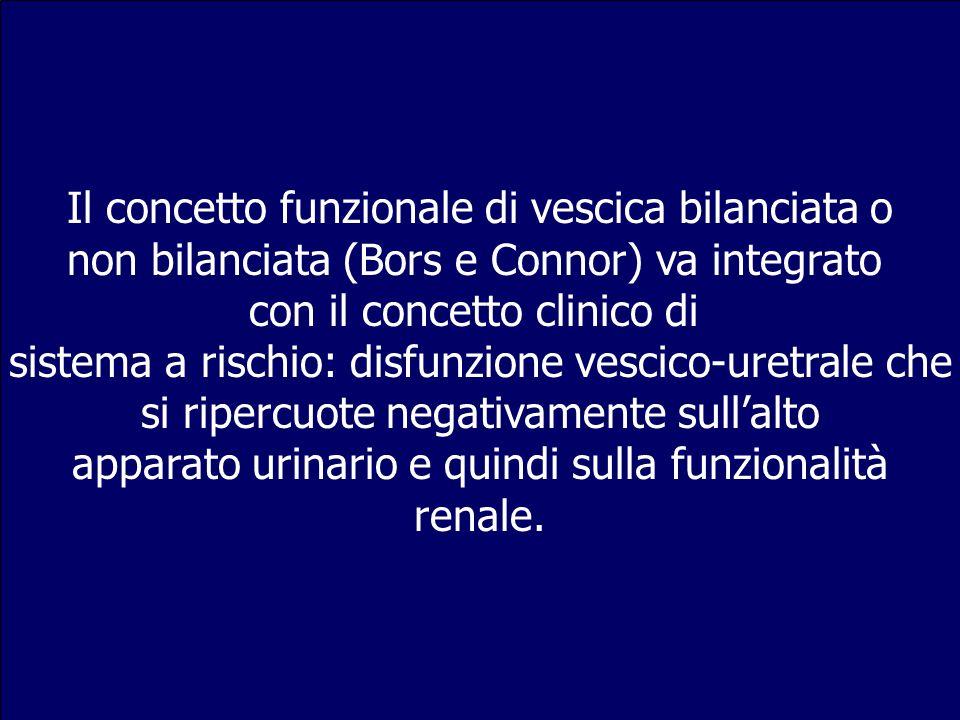 Il concetto funzionale di vescica bilanciata o non bilanciata (Bors e Connor) va integrato con il concetto clinico di sistema a rischio: disfunzione v