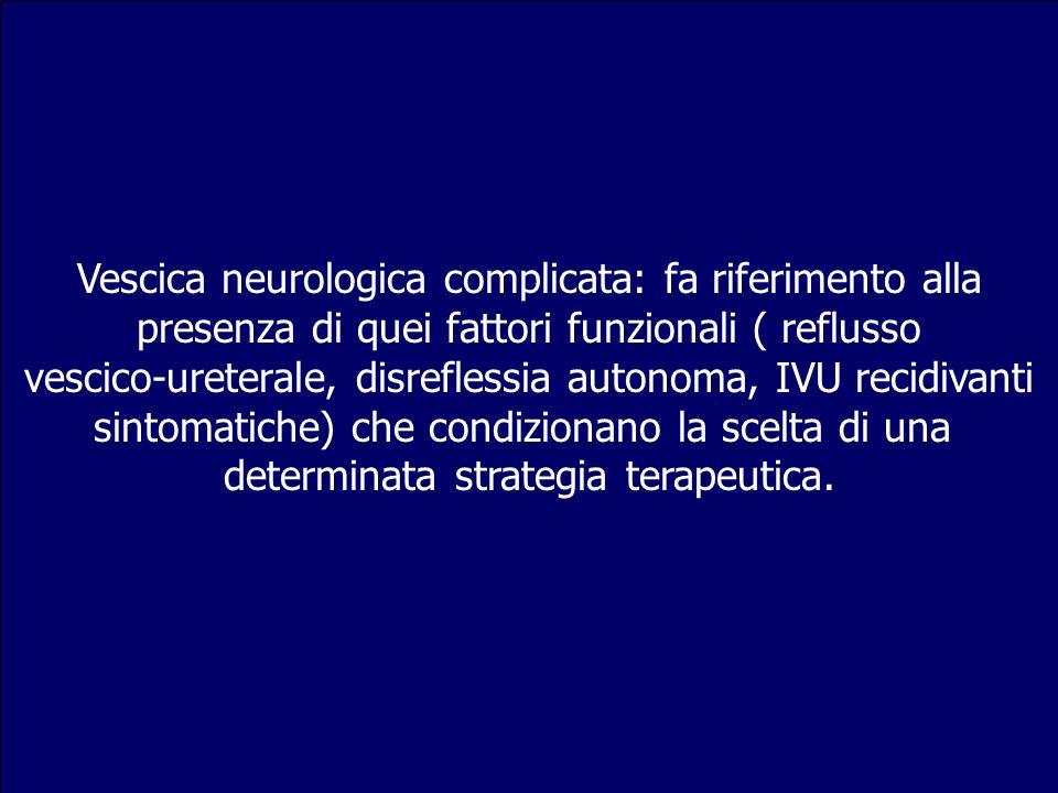 Vescica neurologica complicata: fa riferimento alla presenza di quei fattori funzionali ( reflusso vescico-ureterale, disreflessia autonoma, IVU recid