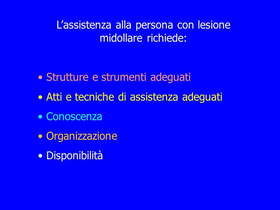 Lassistenza alla persona con lesione midollare richiede: Strutture e strumenti adeguati Atti e tecniche di assistenza adeguati Conoscenza Organizzazio