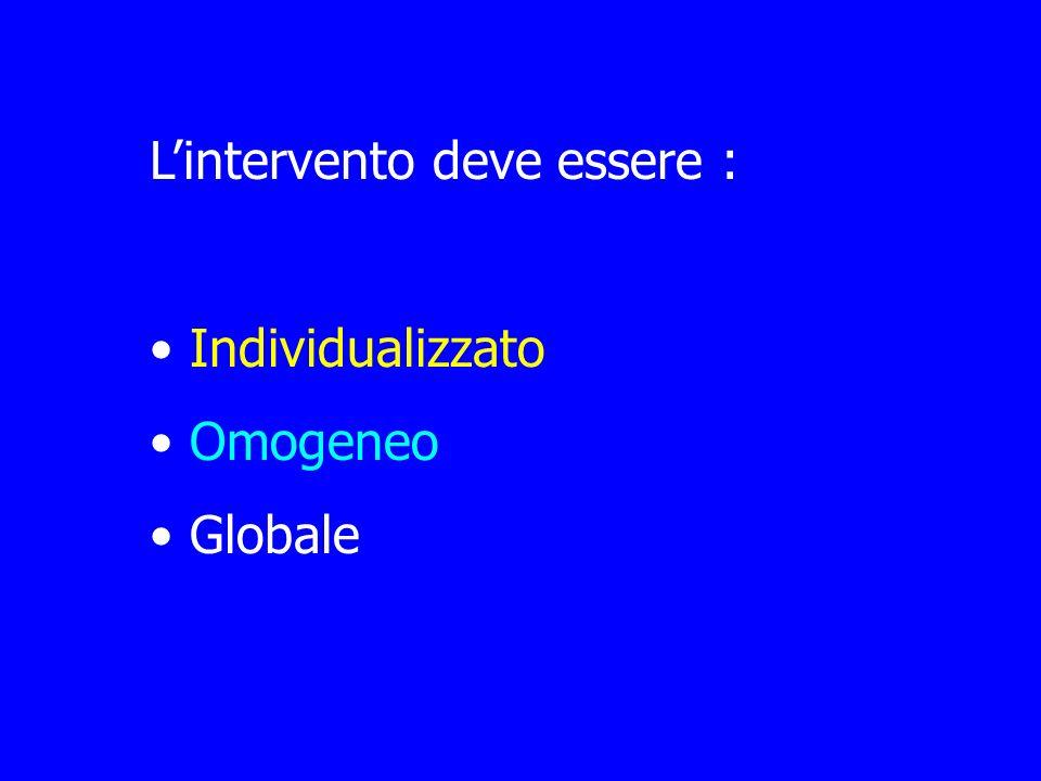 Lintervento deve essere : Individualizzato Omogeneo Globale