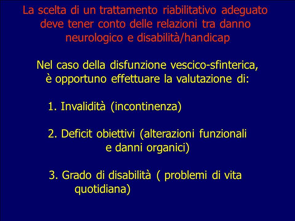 La scelta di un trattamento riabilitativo adeguato deve tener conto delle relazioni tra danno neurologico e disabilità/handicap Nel caso della disfunz