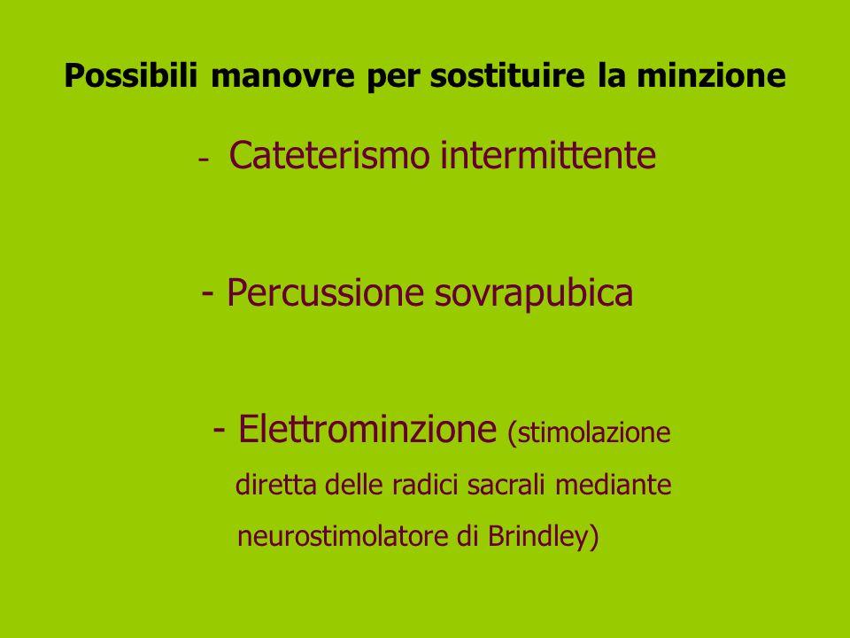 Possibili manovre per sostituire la minzione - Cateterismo intermittente - Percussione sovrapubica - Elettrominzione (stimolazione diretta delle radic