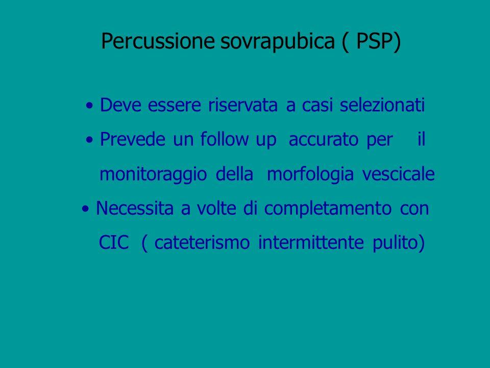 Percussione sovrapubica ( PSP) Deve essere riservata a casi selezionati Prevede un follow up accurato per il monitoraggio della morfologia vescicale N