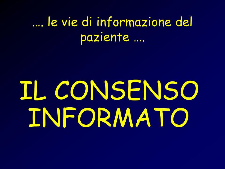 …. le vie di informazione del paziente …. IL CONSENSO INFORMATO