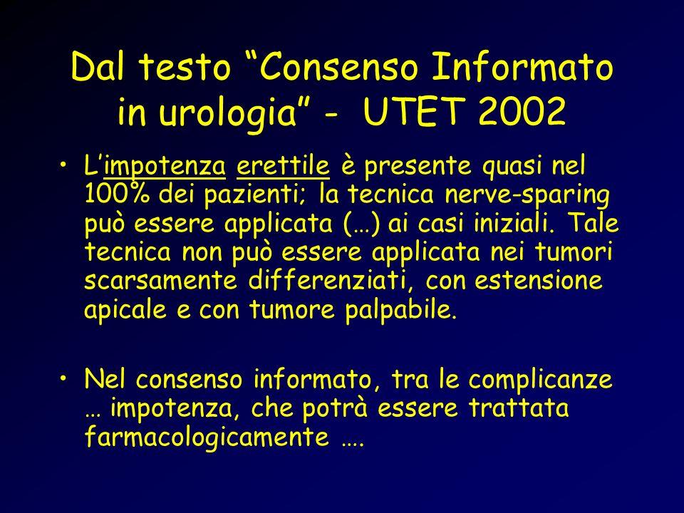 Dal testo Consenso Informato in urologia - UTET 2002 Limpotenza erettile è presente quasi nel 100% dei pazienti; la tecnica nerve-sparing può essere applicata (…) ai casi iniziali.
