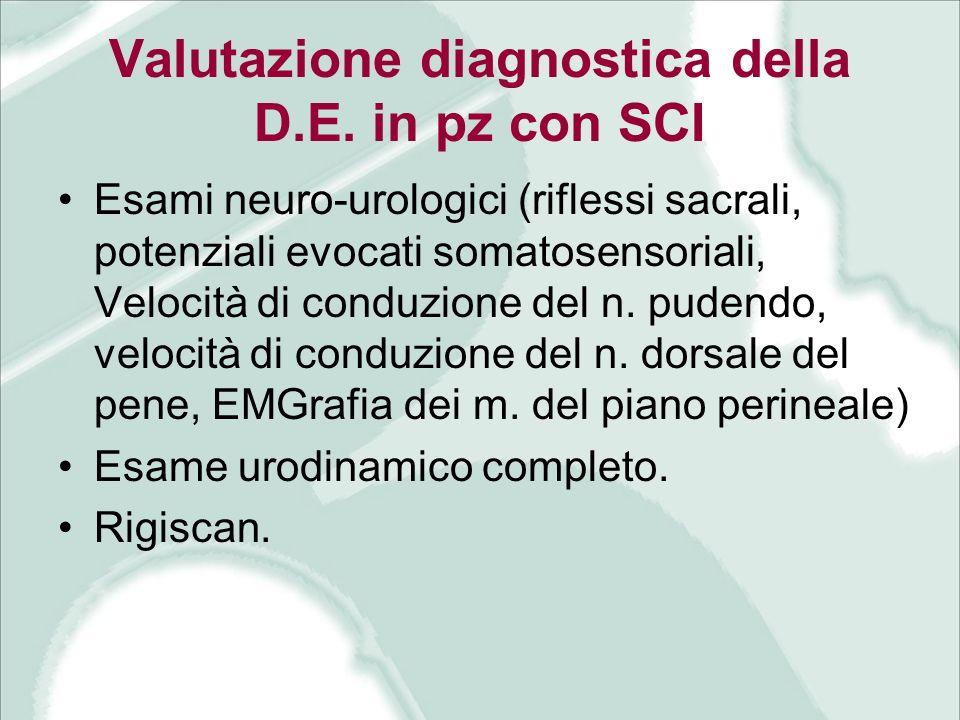 Valutazione diagnostica della D.E. in pz con SCI Esami neuro-urologici (riflessi sacrali, potenziali evocati somatosensoriali, Velocità di conduzione