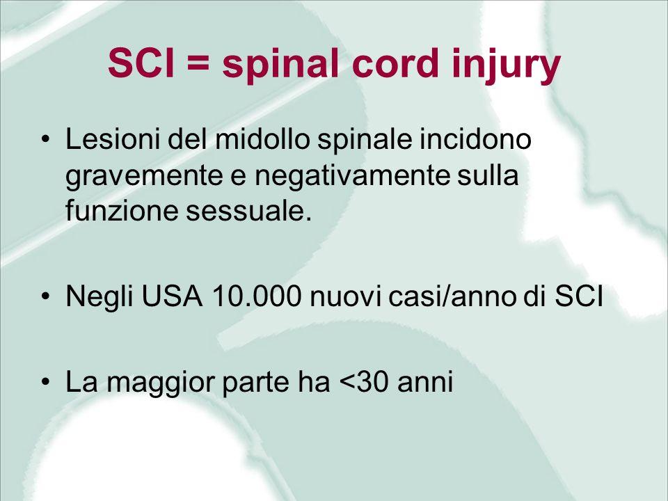 SCI = spinal cord injury Lesioni del midollo spinale incidono gravemente e negativamente sulla funzione sessuale. Negli USA 10.000 nuovi casi/anno di