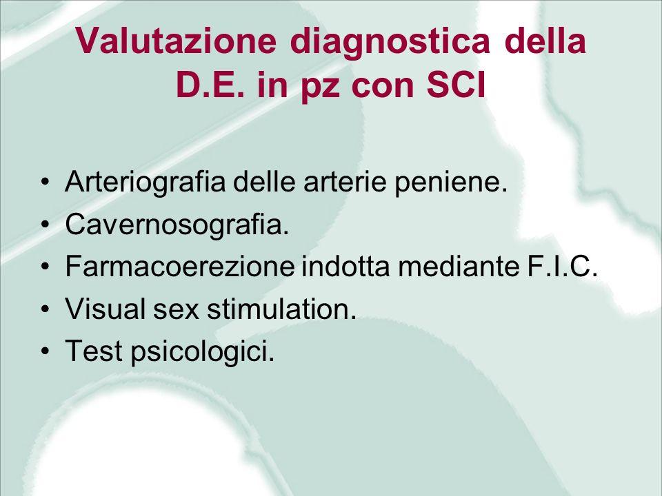 Valutazione diagnostica della D.E. in pz con SCI Arteriografia delle arterie peniene. Cavernosografia. Farmacoerezione indotta mediante F.I.C. Visual