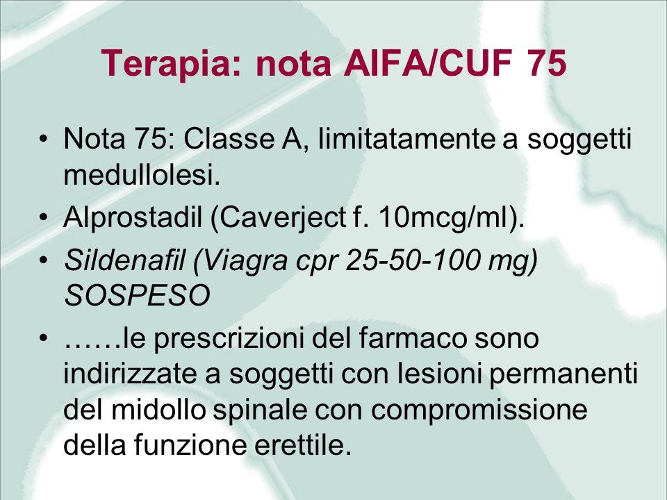 Terapia: nota AIFA/CUF 75 Nota 75: Classe A, limitatamente a soggetti medullolesi. Alprostadil (Caverject f. 10mcg/ml). Sildenafil (Viagra cpr 25-50-1