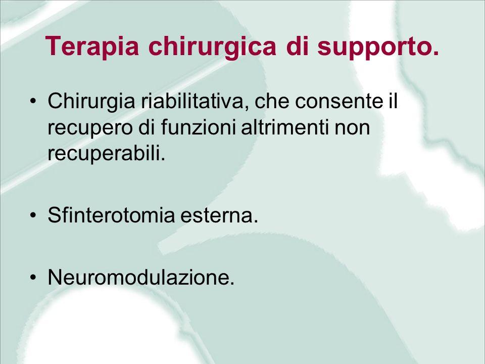 Terapia chirurgica di supporto. Chirurgia riabilitativa, che consente il recupero di funzioni altrimenti non recuperabili. Sfinterotomia esterna. Neur
