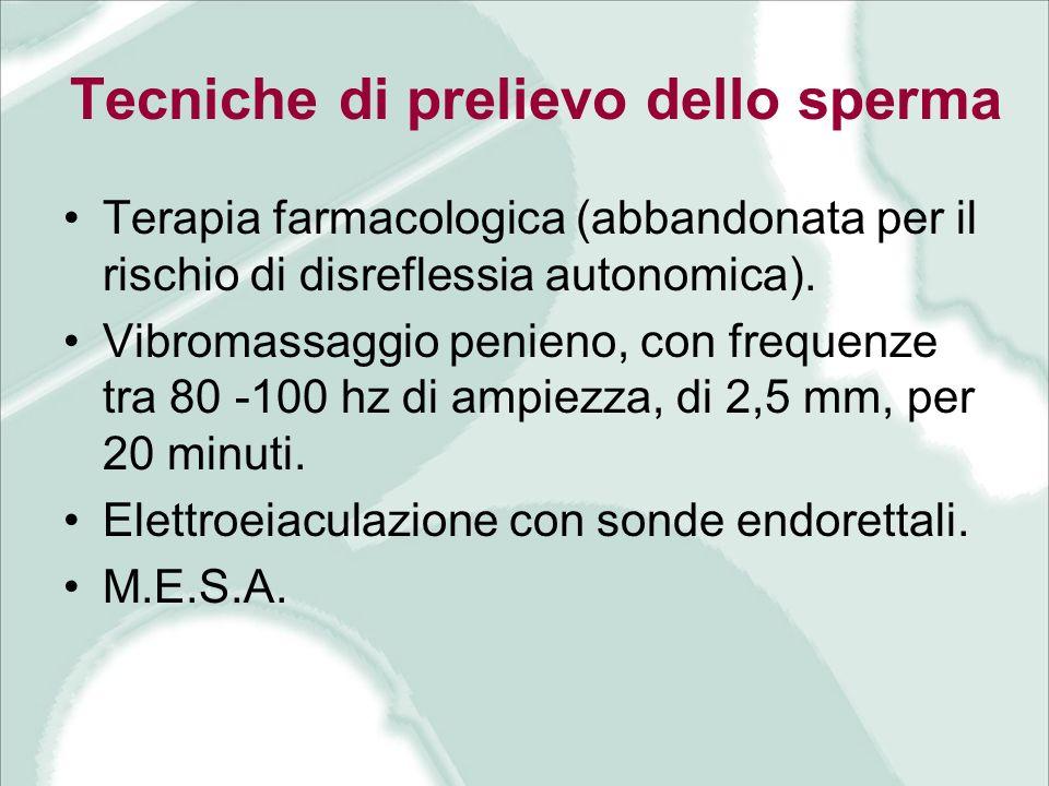 Tecniche di prelievo dello sperma Terapia farmacologica (abbandonata per il rischio di disreflessia autonomica). Vibromassaggio penieno, con frequenze