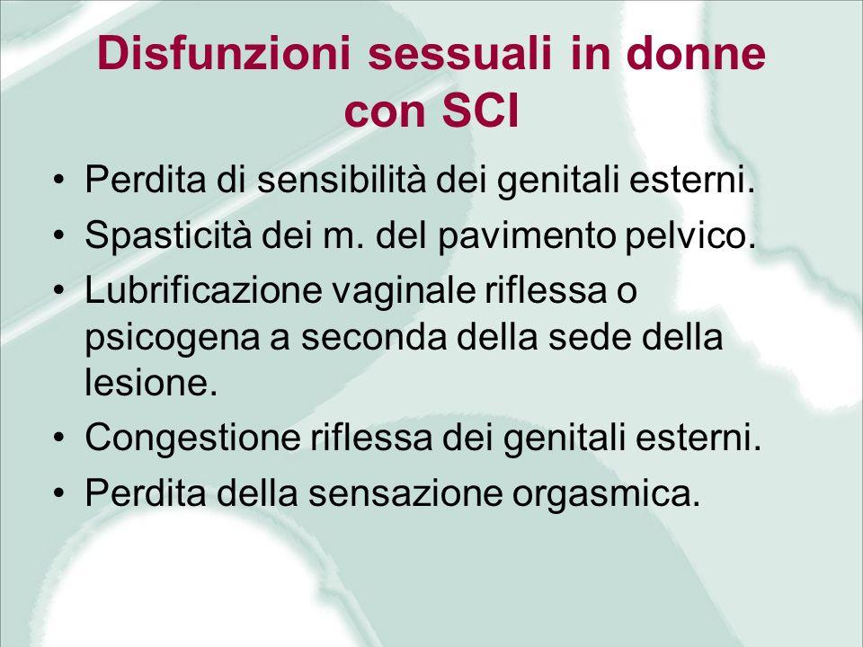 Disfunzioni sessuali in donne con SCI Perdita di sensibilità dei genitali esterni. Spasticità dei m. del pavimento pelvico. Lubrificazione vaginale ri