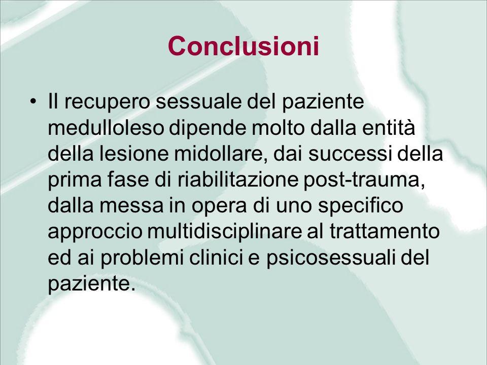 Conclusioni Il recupero sessuale del paziente medulloleso dipende molto dalla entità della lesione midollare, dai successi della prima fase di riabili