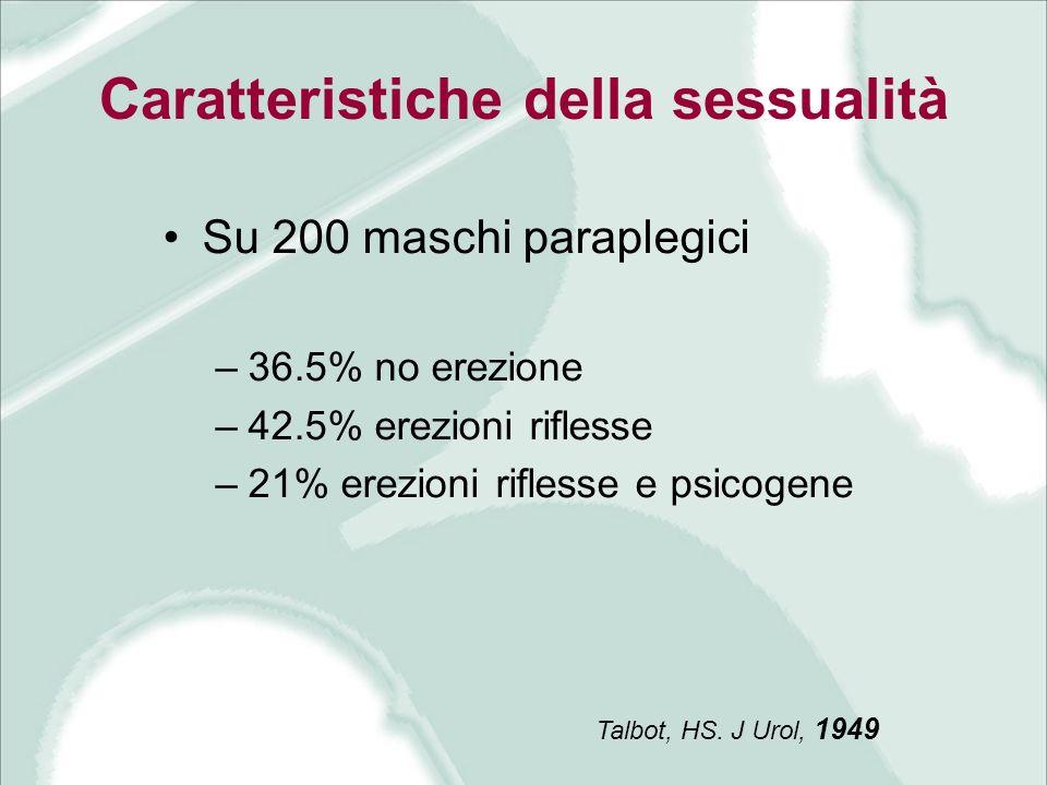 Caratteristiche della sessualità Su 200 maschi paraplegici –36.5% no erezione –42.5% erezioni riflesse –21% erezioni riflesse e psicogene Talbot, HS.