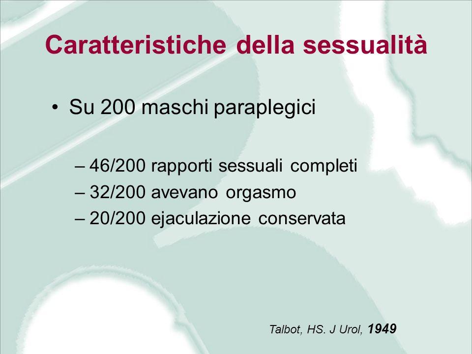 Caratteristiche della sessualità Su 200 maschi paraplegici –46/200 rapporti sessuali completi –32/200 avevano orgasmo –20/200 ejaculazione conservata