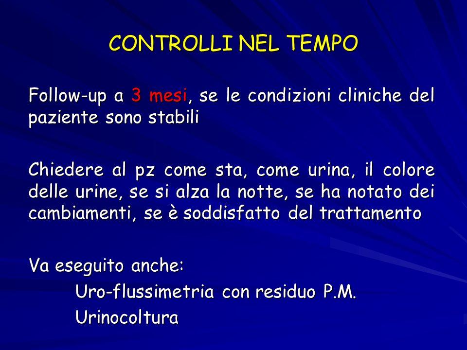 Esame urodinamico con studio pressione/flusso Se non si nota un miglioramento dei sintomi urinari Se flusso urinario basso, alto residuo PM Se fallisce il trattamento