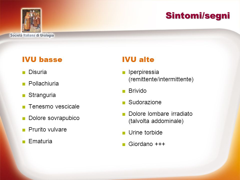 Sintomi/segni IVU basse Disuria Pollachiuria Stranguria Tenesmo vescicale Dolore sovrapubico Prurito vulvare Ematuria IVU alte Iperpiressia (remittent