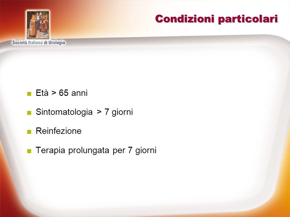 Condizioni particolari Età > 65 anni Sintomatologia > 7 giorni Reinfezione Terapia prolungata per 7 giorni