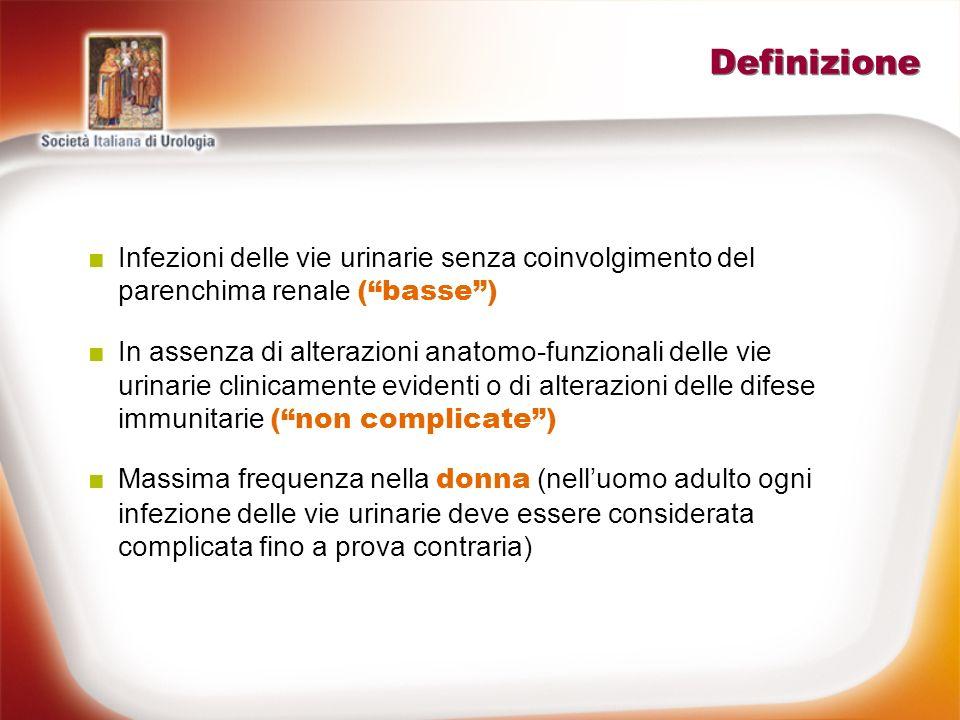 Definizione Infezioni delle vie urinarie senza coinvolgimento del parenchima renale (basse) In assenza di alterazioni anatomo-funzionali delle vie uri
