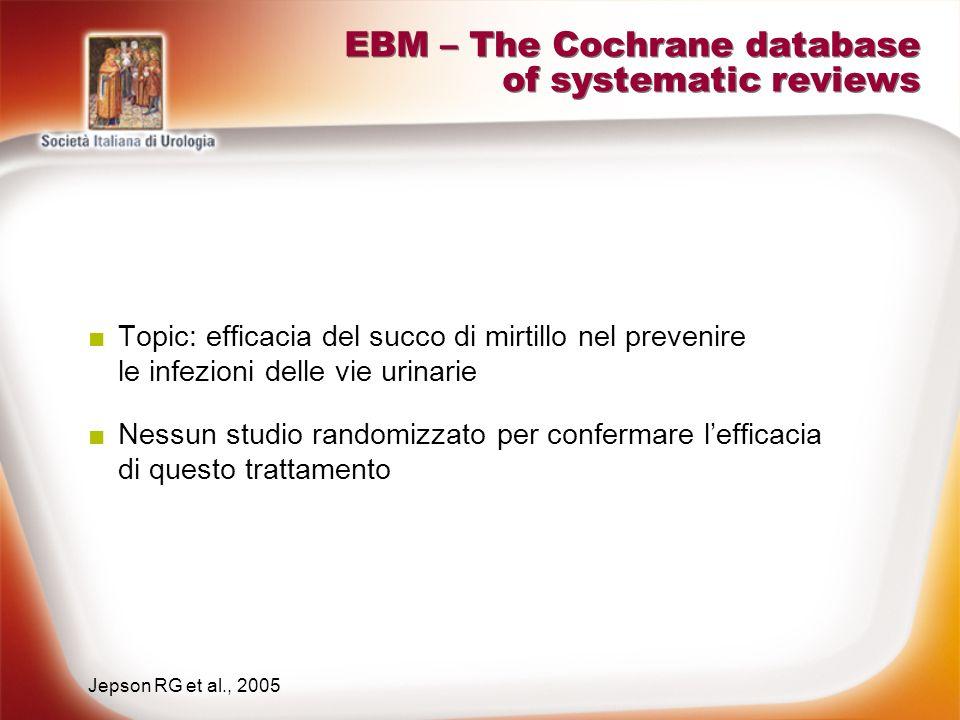 EBM – The Cochrane database of systematic reviews 11 studi eterogenei e di qualità non ottimale Topic: efficacia della metenamina nel prevenire le infezioni delle vie urinarie Evidenze insufficienti per stabilire lefficacia del trattamento, che potrebbe essere efficace solo in assenza di fattori complicanti e con minimi effetti collaterali Lee B et al., 2005