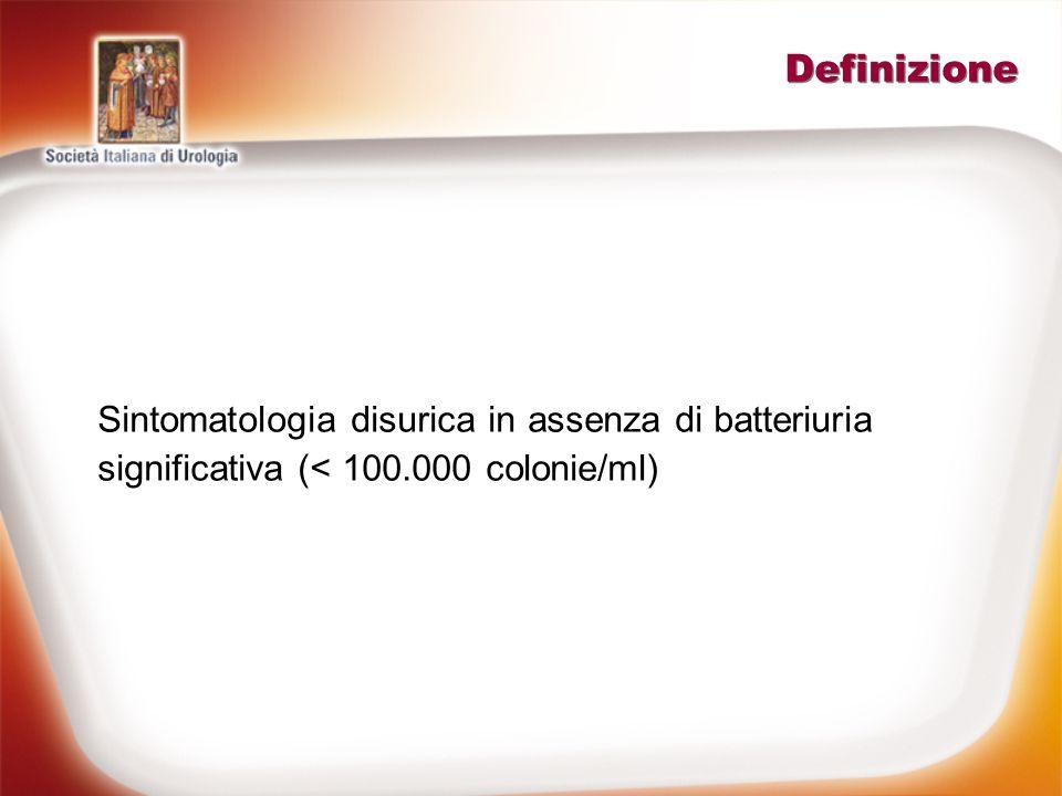 Eziopatogenesi IVU batterica In presenza di chiara sintomatologia disurica associata a batteriuria > 1000 colonie/ml) IVU sostenuta da patogeni esigenti che richiedono terreni di coltura specifici (piuria senza batteriuria) Chlamydia, Mycoplasma, Candida, Micobacterium TBC, Trichomonas