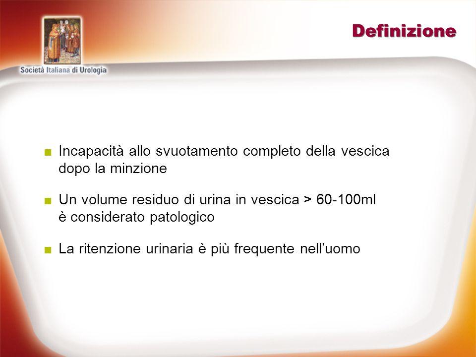 Cause di ritenzione urinaria www.doctorupdate.net 2006; Rocco F et al., 2004 Comuni Ipertrofia prostatica maligna o benigna Farmaci colinergici (stabilizzatori della vescica, antidepressivi) Calcolo uretrale Ipertrofia del collo vescicale Prostatite e ascesso prostatico Denervazione vesicale post-chirurgia pelvica Rare Sistema Nervoso centrale (compressione spinale, sclerosi multipla, ictus) Tumore peduncolato della vescica Rottura traumatica delluretra Corpo estraneo nelluretra anteriore Fimosi Occasionali Costipazione Congestione prostatica Massa pelvica (gravidanza o utero fibrotico) Herpes genitale (Dissinergia detrusoriale) Prolasso vescicale, cistocele