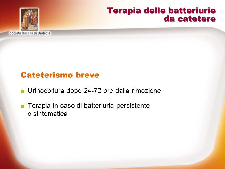 Terapia delle batteriurie da catetere Cateterismo prolungato Non irrigazioni antibiotiche Non trattare batteriuria asintomatica Non terapia antibiotica profilattica cronica Trattare forme sintomatiche (IVU sintomatica o batteriemia) Cambio di catetere