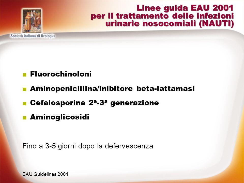 Linee guida EAU 2001 per il trattamento delle infezioni urinarie nosocomiali (NAUTI) Fluorochinoloni Aminopenicillina/inibitore beta-lattamasi Cefalos