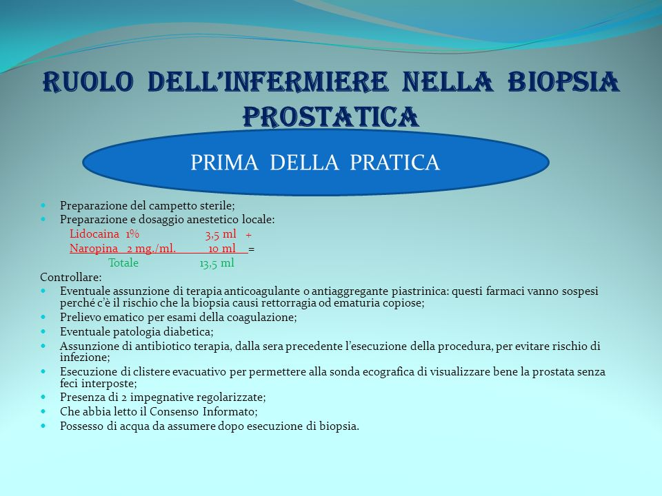 Preparazione del campetto sterile; Preparazione e dosaggio anestetico locale: Lidocaina 1% 3,5 ml + Naropina 2 mg./ml. 10 ml = Totale 13,5 ml Controll