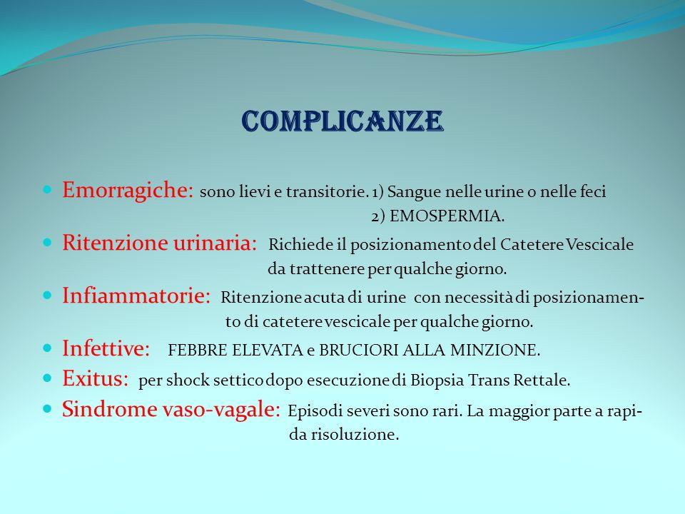 COMPLICANZE Emorragiche: sono lievi e transitorie. 1) Sangue nelle urine o nelle feci 2) EMOSPERMIA. Ritenzione urinaria: Richiede il posizionamento d
