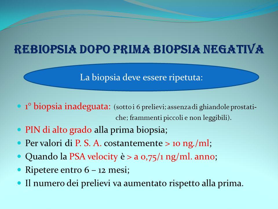 REBIOPSIA DOPO PRIMA BIOPSIA NEGATIVA 1° biopsia inadeguata: (sotto i 6 prelievi; assenza di ghiandole prostati- che; frammenti piccoli e non leggibil