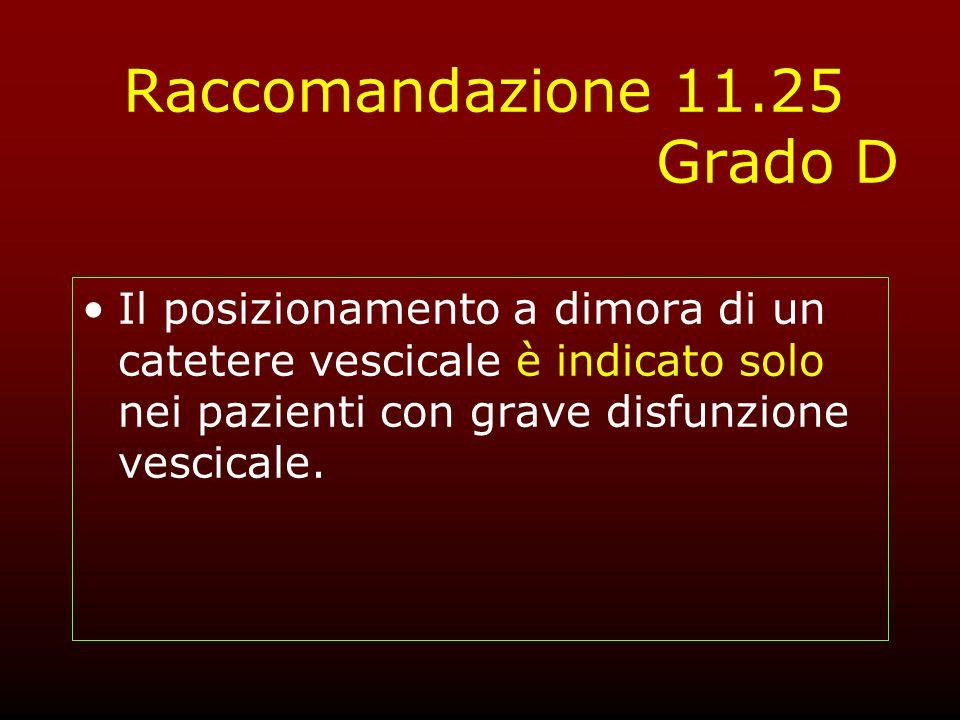 Raccomandazione 11.25 Grado D Il posizionamento a dimora di un catetere vescicale è indicato solo nei pazienti con grave disfunzione vescicale.