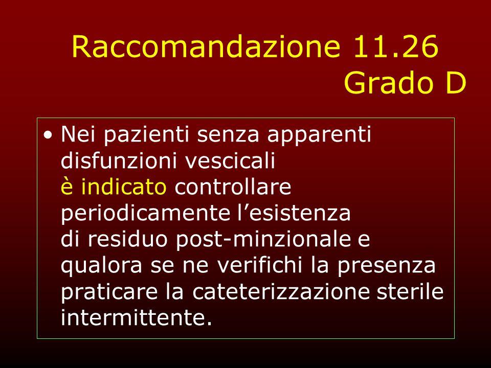 Raccomandazione 11.26 Grado D Nei pazienti senza apparenti disfunzioni vescicali è indicato controllare periodicamente lesistenza di residuo post-minz