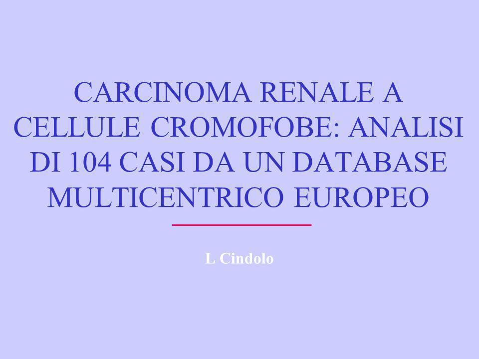 CARCINOMA RENALE A CELLULE CROMOFOBE: ANALISI DI 104 CASI DA UN DATABASE MULTICENTRICO EUROPEO L Cindolo